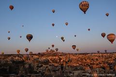 Sureal panoramic view with full moon and air balloons (The place where I belong) Tags: kapadokya cappadocia turkey fullmoon sunrise hotairballoon travel travelphotography nature travelblogger canon