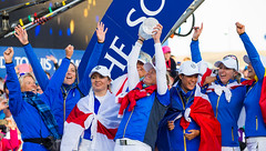 Suzann Pettersen of Norway celebrates as she holds The Solheim Cup aloft (Ladies European Tour) Tags: pettersensuzannnor auchterader perthshire scotland