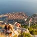 Sonnenuntergang am Gipfel Srd mit Blick auf die Altstadt von Dubrovnik, Kroatien