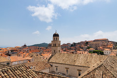 Bell tower of the Franciscan Monastery in the Old Town of Dubrovnik, Croatia