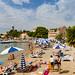 Sandy beach near the Ferry Port on Lopud island, Croatia
