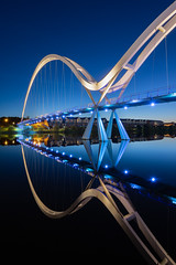 Infinity Reflected (srhphoto) Tags: 2019 bluehour bridges cameras cityscape copyright dawn equipment genre infinitybridge lenses m43 olympusomdem1markii panasonicleicadgvarioelmarit818mm places rivertees rivers stocktonontees timeofday townsandcities year â©simonharrison2019 ©simonharrison2019