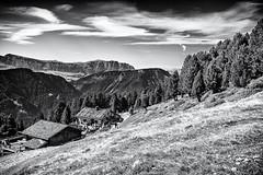 A lovely Place... (Ody on the mount) Tags: anlässe berge blackwhite canon dolomiten fototour g7xii himmel hütte powershot raschötz schlern südtirol urlaub wolken bw blackandwhite clouds monochrome mountains sw schwarzweis sky