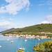 Yachts anchorage in Polace on Mljet island, Croatia