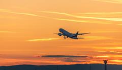 Take Off (andreasmally) Tags: flugzeug flughafen boeing 777 airport frankfurt sunset sky aircraft hessen germany deutschland takeoff tripple7