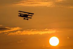 The rise of flight (mcbuth) Tags: sunset sonnenuntergang fokker dr1 silutte orange