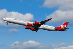 G-VFIT   Virgin Atlantic   Airbus A340-642   LHR/EGLL (Tushka154) Tags: unitedkingdom spotter london virginatlantic gvfit airbus a340 a340600 heathrow a340642 airbusa340 aircraft airplane avgeek aviation aviationphotography planespotter planespotting spotting uk