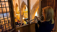 Bugler playing in balcony (James O'Hanlon) Tags: parachute regiment regimental association parachuteregimentassociation operation market garden arnhem st nicks liverpool parish church liverpoolparishchurch stnicks operationmarketgarden 75thanniversary anniversary