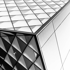 corner (morbs06) Tags: berlin futurium richterundmusikowski abstract architecture building bw diagonal facade geometry glazing light lines museum pattern reflections repetition square stripes texture