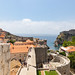 City wall and Pile Gate with the Lovrijenac Fortress in the distance, Dubrovnik, Croatia