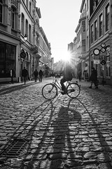 Bruges Bikes & Shades - in B&W - Ron's crop (Drummerdelight) Tags: street streetphotography candidphotography peoplewatching brugge shillouettes blackwhite