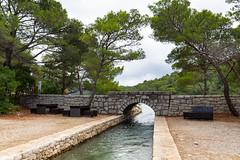 Canal between the lakes Veliko Jezero and Malo Jezero on Mljet, Croatia