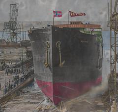 The launching of M/T Petter in 1935 (frankmh) Tags: ship tanker mtpetter 1935 burmeisterwein copenhagen denmark shipyard
