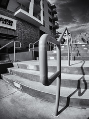 Stairs to plaza (Thomas Cizauskas) Tags: blackandwhite stairs georgia streetscene fisheye decatur monochrome path marta