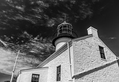 Old Point Loma Lighthouse (dan@propeakphotography.com (out shooting on locati) Tags: america architecture bw building cabrillonationalmonument california californiahistoricallandmark clouds coast famousplace internationallandmark lighthouse monochrome nps nationalmonument nationalregisterofhistoricplaces northamerica oldpointlomalighthouse perspective pointloma sandiego touristattraction traveldestination travelandtourism usa unitedstates unitedstatesofamerica