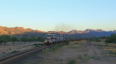 Running the Shade (GLC 392) Tags: cbry emd gp39 gp392 copper basin railroad railway train shade shadows 401 502 501 kearney az arizona raw ore mountain morning light