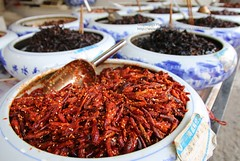 Qingyan, various types of Chili (blauepics) Tags: china guizhou province qingyan city stadt town old alte colours farben spices gewürze chili red rot spicy scharf food essen macro makro nahaufnahme closeup details bokeh