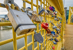 Pics from Pittsburgh #7 (tquist24) Tags: alleghenyriver hdr nikon nikond5300 outdoor pennsylvania pittsburgh robertoclementebridge bridge city color colorful downtown fence geotagged lovelock lovelocks outside padlock river urban water yellow