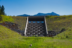Dichotomy (silver_ring) Tags: dam concrete mountain 24120 green nature juxtaposition checkered saturated midday