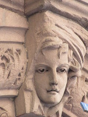2019 Gargoyle Face above Doorway 25th St NYC 1387 (Brechtbug) Tags: 2019 gargoyle face above doorway building facade 25th street between 7th 8th avenues nyc 09152019 new york city midtown manhattan gargoyles portraits monster portrait monsters creature faces spooky art architecture sculpture keystone mask brownstone brown stone