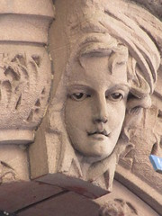 2019 Gargoyle Face above Doorway 25th St NYC 1386 (Brechtbug) Tags: 2019 gargoyle face above doorway building facade 25th street between 7th 8th avenues nyc 09152019 new york city midtown manhattan gargoyles portraits monster portrait monsters creature faces spooky art architecture sculpture keystone mask brownstone brown stone