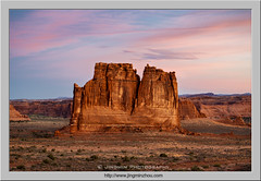 Courthouse Towers at Dawn (Virtual Reality in film) Tags: utah archesnationalpark courthousetowers sandstone rocks desert morning dawn
