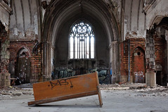 It Ain't Over till the Fat Lady Sits (Jana_Apergis) Tags: decay church urbex detroit abandoned abandonment urbanexploration pew altar window crumbling