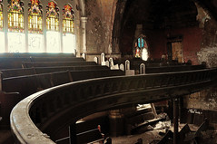 The Curve (Jana_Apergis) Tags: church decay detroit urbex abandoned urbanexploration crumbling banister railing stained glass windows broken pews