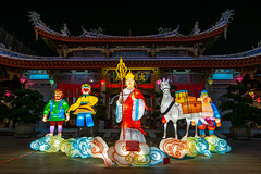 Cast of Journey to the West (BP Chua) Tags: shuanglinmonastery singapore journeytothewest cartoon night temple monastery lantern nikon