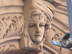 2019 Gargoyle Face above Doorway 25th St NYC 1388 (Brechtbug) Tags: 2019 gargoyle face above doorway building facade 25th street between 7th 8th avenues nyc 09152019 new york city midtown manhattan gargoyles portraits monster portrait monsters creature faces spooky art architecture sculpture keystone mask brownstone brown stone