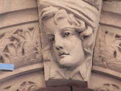 2019 Gargoyle Face above Doorway 25th St NYC 1385 (Brechtbug) Tags: 2019 gargoyle face above doorway building facade 25th street between 7th 8th avenues nyc 09152019 new york city midtown manhattan gargoyles portraits monster portrait monsters creature faces spooky art architecture sculpture keystone mask brownstone brown stone