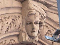 2019 Gargoyle Face above Doorway 25th St NYC 1389 (Brechtbug) Tags: 2019 gargoyle face above doorway building facade 25th street between 7th 8th avenues nyc 09152019 new york city midtown manhattan gargoyles portraits monster portrait monsters creature faces spooky art architecture sculpture keystone mask brownstone brown stone