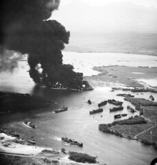 BIG FIRE AT PEARL 1944 IN LOCH USED TO PREPARE INVASION CONVOYS (DREADNOUGHT2003) Tags: warships warship warproduction warinthepacific war submarines submarine battleships battleship