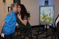 Group shots taken with Tina's artwork. (QuakerVille) Tags: qps quaker parrots afa conference 2019 jonmarkdavey orlando hotelb afa2019qpsgroupshotsvarious lakebuenavista florida unitedstates