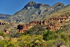 Red Rock Formations and a Backdrop with Emery Peak (Big Bend National Park)