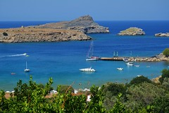 blue sea :) (green_lover (your COMMENTS are welcome!)) Tags: sea boats lindos rhodes greece blue island landscape rodos