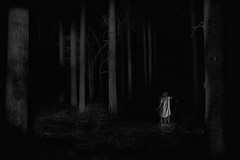 lost in darkness (the ripped bystander) Tags: blackwhite forest character darkness night lady