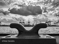 Hamburg - harbour (peterkaroblis) Tags: hamburg harbour hafen container terminal burchardkai schwarzweis blackandwhite water wasser wolken clouds lines linien kurven curves