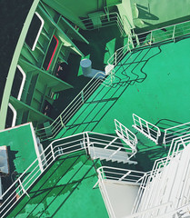 interrail2019/06-07:helsinki-stockholm (miemo) Tags: europe finland vikingline abstract boat deck ferry green iphonex iphone light shadows stairs summer travel
