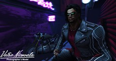 Shady Dealings (VatraNicovala) Tags: secondlife second life city motorcycle shady dark neon streets alleys
