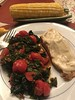 Broiled Atlantic salmon with Dijon mayo; braised beet greens with cherry tomatoes; corn on the cob (TomChatt) Tags: food homecooking