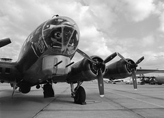 "B-17G ""Sally B"" (LarsHolte) Tags: blackandwhite bw 120 film analog mediumformat 645 pentax 120film f45 analogue rodinal 6x45 foma 100iso pentax645 fomapan classicblackwhite 645n aph09 smcpentaxfa 4585mm fomapan100classic monochrome denmark ishootfilm airshow bomber danmark filmphotography sallyb b17g homeprocessing filmforever larsholte roskilde"