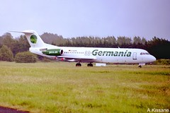 GERMANIA F100 D-AGPR (Adrian.Kissane) Tags: airliner airline jet plane aeroplane aircraft aviation ireland german departing runway sky outdoors 2004 f100 dagpr shannonairport shannon germania