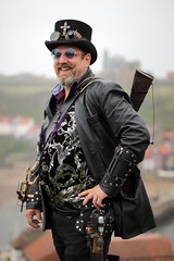 Portrait from the Whitby Steampunk Weekend VI (Gordon.A) Tags: whitby yorkshire england uk whitbysteampunkweekend wsw vi steampunk convivial festival event culture subculture style lifestyle creative costume costumes hat design man people face model pose posed posing outdoor outdoors outside naturallight colour colours color colors amateur portrait portraiture photography digital canon eos 750d sigma sigma50100mmf18dc
