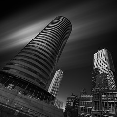 From Holland To Amerika (Alec Lux) Tags: bw bnw rotterdam apartment architecture art black blackandwhite building buildings city cityscape curves design exterior facade fine fineart flat haida haidafilters lines longexposure modern netherlands outdoor outside shape skyline skyscraper tower urban white