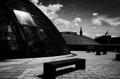 The Dome. (kmale62) Tags: liverpoolcentrallibrary roof bench terrace blackandwhite sky shadow cityscape ricoh grii liverpool city urban