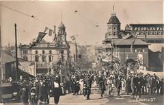 Crowd in Edward Street, Brisbane for the visit of Edward, Prince of Wales - 1920 (Aussie~mobs) Tags: 1920 crowd people edwardstreet brisbane queensland australia vintage royalvisit princeofwales celebration bunting