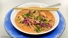 Salmon and cabbage soup with laksa flavours (garydlum) Tags: cabbage coconutcream coriander kale laksapaste lemonjuice redonion salmon springonion canberra australiancapitalterritory australia