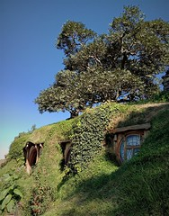 Bag End (SM Tham) Tags: newzealand northisland matamata hobbiton lotr thehobbit smial hobbithole home house bilbobaggins frodobaggins samwisegamgeerosiecotton hill tree underground door window theshire