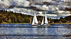 Sails over Ladoga. Russia (V_Dagaev) Tags: sail ladoga ladogalake landscape lake russia water forest trees yacht sky summer clouds art painterly painting painter paint visualdelights digital dynamicautopainter
